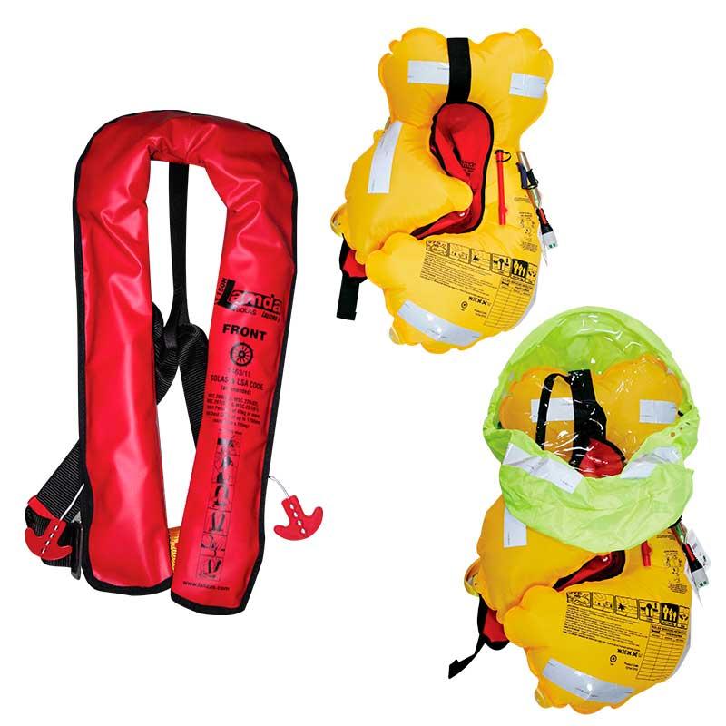 Спасательный жилет надувной c автоматическим механизмом и брызгозащитной накидкой